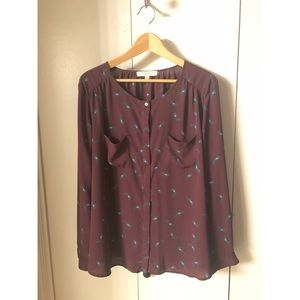 Maroon Blouse with Peacock Feather Accents